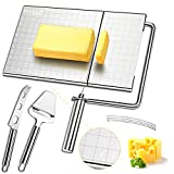 Cheese Slicer, Stainless Steel Cheese Slicer with Accurate Size Scale, Wire Cheese Slicer for Cheese Butter,Equipped with 5 Replaceable Cheese Slicer Wires & 1 Multi-Use Cheese Knife & 1 Cheese Planer