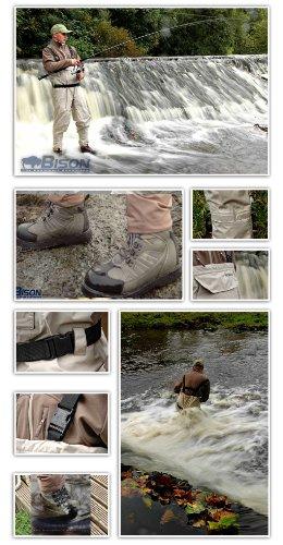 Bison Wathose und Angler-Schnürstiefel, atmungsaktiv EX LARGE 11 RUBBER SOLE