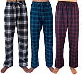 GIVEITPRO- 3 Saver Pack-100% Cotton Flannel Pajama Pant Bottoms-Yarn-dye Woven (Medium, Combo A. (Grey, Blue, Red))