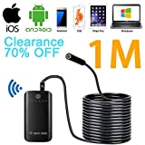 SanSiDo Endoscope Camera WiFi Endoscope Borescope Camera 2.0 Megapixels HD 7mm 6 LEDs Waterproof Snake Camera with Shutter for iOS Android iPhone 7/7Plus/6/6s,iPad Pro,Samsung (WIFIBOX-Endoscope-1M)