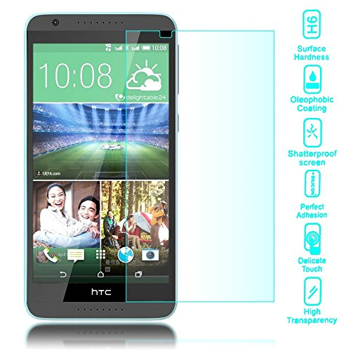 NALIA Schutzglas kompatibel mit HTC Desire 820, Full-Cover Bildschirmschutz Handy-Folie, 9H Festigkeit Glas-Schutzfolie Display-Abdeckung Schutz-Film Phone HD Screen Protector Tempered Glass - Transparent