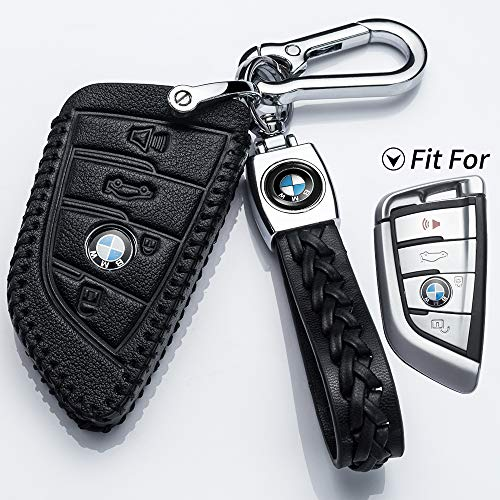 Full Protection Soft Leather Key Fob Case Compatible with BMW X1 X3 X5 X6 and 5 Series 2018 7 Series 2017 up 2 Series and 6 Series Hey Kaulor for BMW Key Fob Cover Keyless Entry,Black GT
