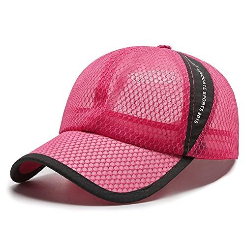 Sombrero de Verano Gorra de béisbol para Mujeres y Hombres Sombrero de sombrilla Sombrero de protección Solar Gorra Transpirable para Mujer Sombrero de Malla de Tela de Malla al Aire Libre-Rose Pink