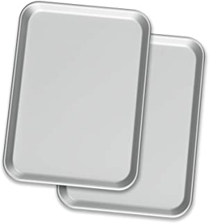 """Baking Sheet Pans – Two Aluminium Cookie Sheet Pan (13"""" x 18"""") - for Commercial or Home Use. Half Size Baking Pan Set w/ C..."""