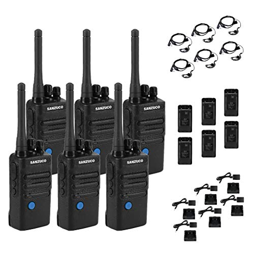 Long Range Rechargeable Two-Way Radio with Earpiece and Group Talk Function, Sanzuco UHF 400-470MHz Reprogrammable Handheld Walkie Talkie, USB Charging Dock Included (6 Pack)