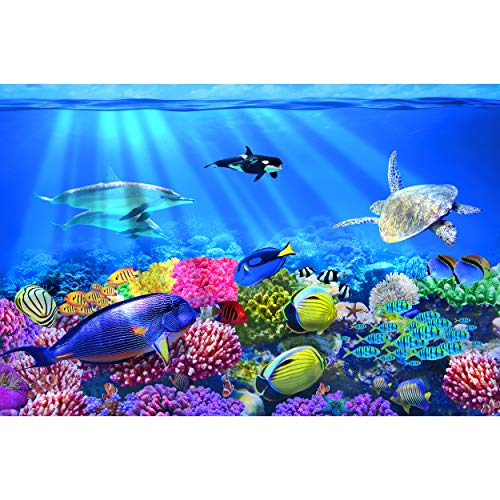 GREAT ART Fototapete – Aquarium Wandbild – Dekoration farbenfrohe Unterwasserwelt Meeresbewohner Ozean Fische Delphin Korallen-Riff Clownfisch Foto-Tapete Wandtapete Fotoposter (336 x 238 cm)