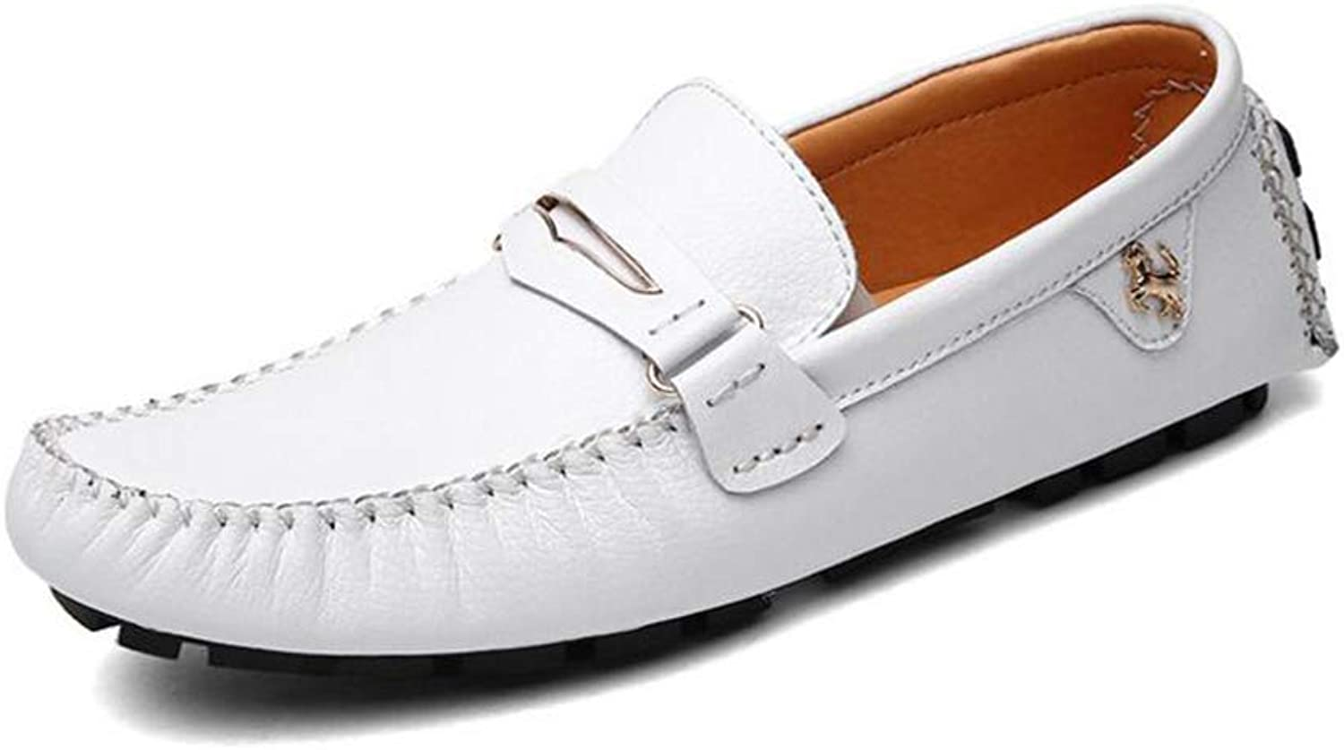 Y-H Men Casual shoes,Spring New Loafers & Slip-Ons Lazy shoes,Comfort Driving shoes, Walking Gym shoes,White,39