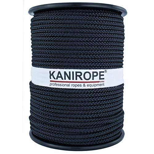 Kanirope® Polyesterseil Seil Polyester POLYBRAID 3mm 100m Schwarz 8-fach geflochten