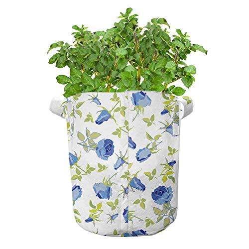 ABAKUHAUS Green Flower Groeizakken, Sierlijke nam Knoppen, set van 5 Zwaar Uitgevoerde Zak van Textiel voor Planten, met Handgrepen, 19 liter, Blauw Pale Green White