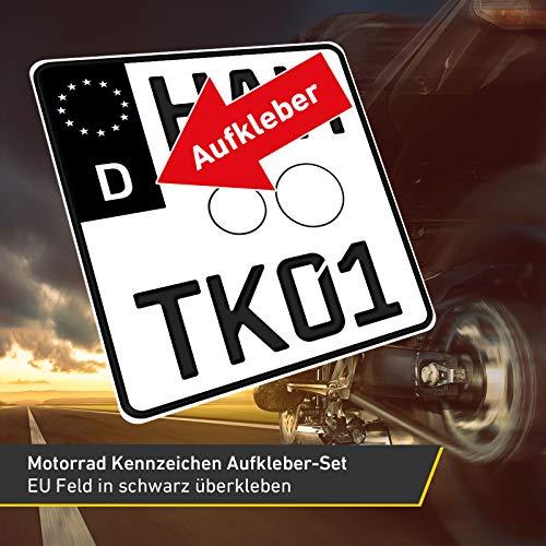 2x Motorrad Kennzeichen Nummernschild Aufkleber, EU Feld Schwarz, 1x Starter-Set