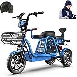 Bici electrica, 3 Rueda de bicicleta eléctrica de 48V 500W for adultos Montaña Scooter eléctrico 12 En bicicleta eléctrica de absorción de choque múltiple con la cesta del almacenaje y Kid Asiento for