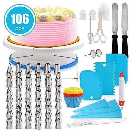 Rmine 106 Pcs Kit de pâtisserie Plateau Tournant de Gâteau DIY Ustensiles Kits Décoration pour Glaçage, Déco, Poches, Douilles ect