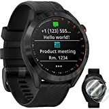 Garmin Approach S40 Golf Watch (Black Stainless Steel/Black Band) - 010-02140-01 with Approach S60 Screen Protector 2pack
