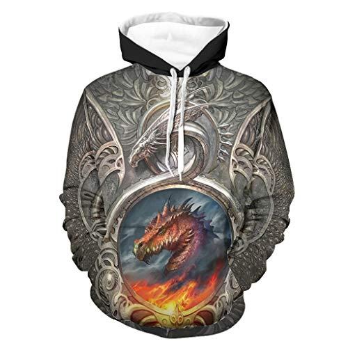 Hombre Armor Fire Dragon Hoodies Classic - con bolsillo chaqueta blanco 2xl