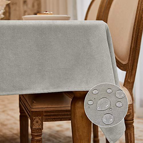 Balcony&Falcon Tischdecke Leinenoptik tischdecke abwaschbar Tischtuch Leinen Tischläufer Tischwäsche Eckig Wasserdicht Tischdecke Beige Faserflocke 140 x240 cm