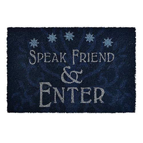 Herr der Ringe Elbenwald Fußmatte Speak Friend & Enter Motiv 60 x 40 x 1,5 cm Kokos rutschfes blau
