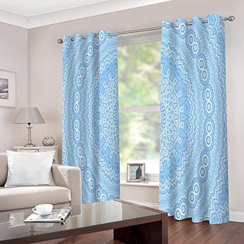 cortinas dormitorio infantil Flor azul claro y mandala Ojales cortinas dormitorio infantil Ventana Dormitorio Estilo Moderno Elegante Habitacion Niño Antimosquitos Insonorizantes 2xW75xH166cm(AnxAl)