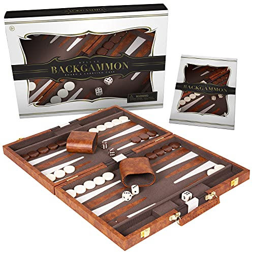 Crazy Games Backgammon Set - Classic Medium Brown 15 Inch Backgammon Sets for Adults Board Game with Premium Leather Case - Best Strategy & Tip Guide (Brown, Medium)