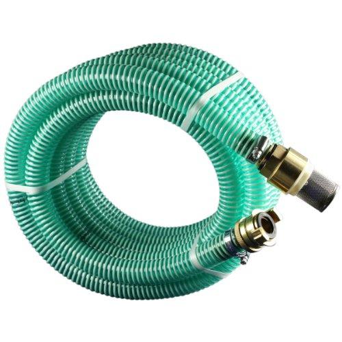 Sanifri 470010048 Saugschlauch-Garnitur bestehend aus Pumpen-Spiralschlauch, Niro-Fußventil, Messing-Saugkupplung fertig montiert, Abmessung 1 Zoll , Länge 4m