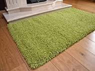 Soft Touch Shaggy Green Thick Luxurious Soft 5cm Dense Pile Rug. Available in 7 Sizes (80cm x 150cm)