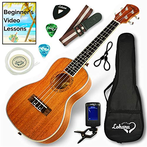Ukulele Concert Size Bundle From Lohanu (LU-C) 2 Strap Pins Installed FREE Uke Strap Case Tuner Picks Hanger Aquila Strings Installed Free Video...