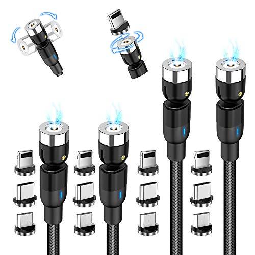 AMZLIFE Magnetisches Ladekabel, 3 in 1 Magnet USB kabel [4Stück 1m+1m+2m+2m] 360°&180°Rotierendes Ladekabel 2.4A Nylon Geflochtenes Drehmagnetkabel für iProdukt, Micro USB, Type C, Samsung,Huawei,Mehr