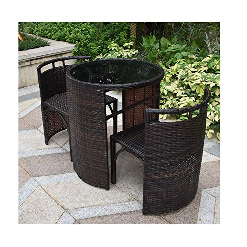 YM Flower stand Juego de mesa y silla de ratán de 3 piezas, creatividad, mini mimbre de ratán, 2 sillas y 1 mesa de café, para terraza al aire libre, jardín y césped (color: marrón)