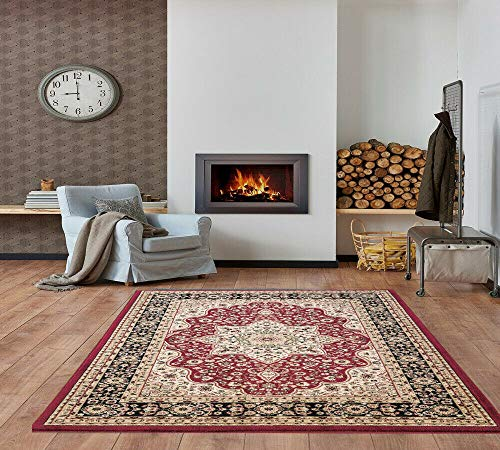 Rugs Living Room Large - 240 x 320 cm - Rome Red Traditional Classical Floral Pattern Persian Full Floor Covering Extra Wide Area Rugs Bedroom Decorations for Bedroom Teen Girls, Boys