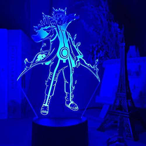 Lámpara de ilusión 3D Anime Naruto Kurama Luz de noche LED 7 colores Regalos de cumpleaños para niños Decoración de mesa de dormitorio y control remoto