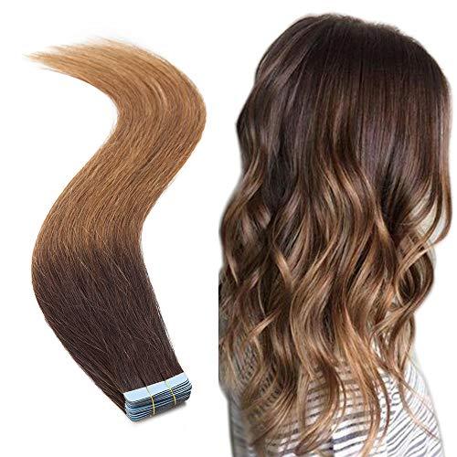 Tape Haarextension Remy Echthaar Kleber Haarverlängerung 20 pcs 16'(40cm) 50g Balayage Glatt Human Hair #2T6 Dunkelbraun Ombre Hellbraun