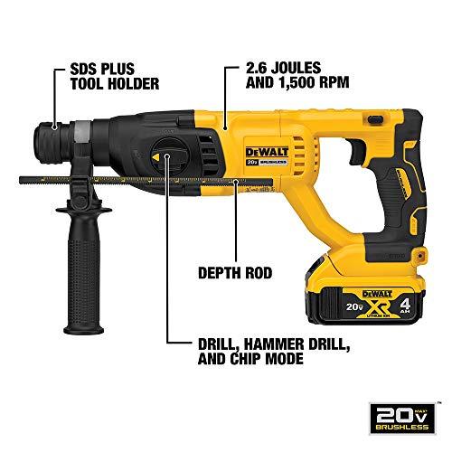 DEWALT 20V MAX XR Rotary Hammer Drill Kit, D-Handle, 1-Inch (DCH133M2)