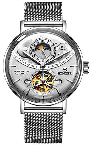 B BINGER Men's Day Moon Mechanical Wrist Watch with Stainless Steel Mesh Band (Grey)