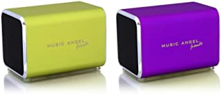 Music Angel Friendz Speaker Twin Pack Bundle for iPhone/iPad/iPod/Mp3/Laptop/Smartphone - Lime/Purple