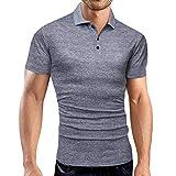 serliy Herren Poloshirt Kurzarm,Sommer T-Shirt Men's Polo Shirt Baumwolle Herren Mode Solid Business...