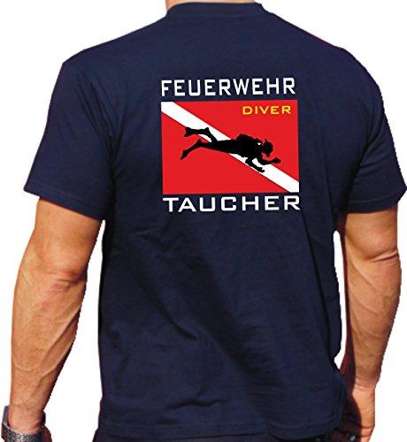 T-Shirt Navy, Feuerwehr Taucher mit Diver Flagge