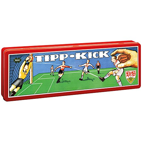 TIPP-KICK VfB Stuttgart Klassik Edition 80x 47 cm Set mit 2X Spieler, 2X Torwart, 2X Netztor, 2X Ball I Spielfeld aus Filz