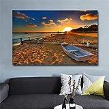 Surfilter Playa en el paisaje de la puesta del sol imágenes Puente nave paisaje pinturas de lienzo Pósters para sala de estar Decoración 60x90cm 24x36 pulgadas Sin marco