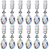12 Pieces Crystal Teardrop Prisms Pendant Crystal Pendants Glass Pendants Tablecloth Weights Crystal Pendants Parts Beads for Home Party Christmas Wedding Decoration