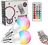 Bombillas LED E14, 6W Regulable Cambio de RGB Color Mando a Distancia Bombillas LED (Equivalente 40W), 2700K, Función de Temporización y Memoria Bombilla para Hogar, Decoración, Bar, Fiesta, KTV