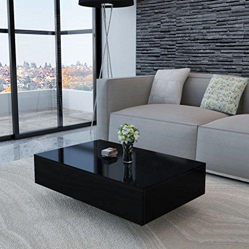 Vislone Rectangular Mesa de Centro Salón Mesa de Café Mesa Auxiliar de Fibra de Vidrio Negro Brillante 85x55x31cm