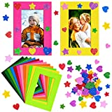 Jetec 24 Pieces Colorful Felt Photo Frames Holiday Picture Frames and 50 Pieces Colorful Glitter Foam Stickers for Home, School and Office Decoration,12 Colors, 4 x 6 Photos
