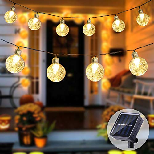 INFLATION Solar String Lights Outdoor,8 Modes of Outdoor Crystal Waterproof String Lights Garden Decorative lamp Ground Plug Christmas Decorations Lights, Parties, Romantic Decorations Lights