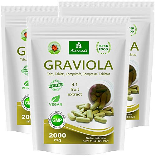 Graviola tabletter 360 x 2000 mg 4: 1 vegansk fruktekstrakt, kvalitetsprodukt fra MoriVeda (3x120 Tabs)