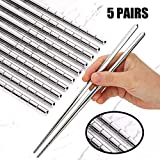 Omia 5 Pairs Premium Reusable Metal Stainless Steel Chopsticks Dishwasher Safe Lightweight Easy to...