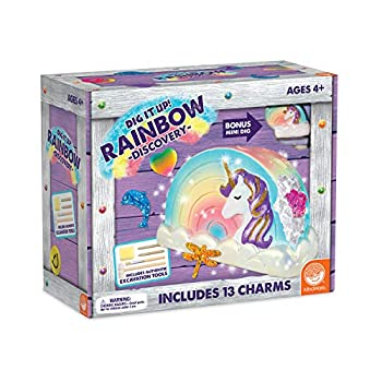 MindWare Dig It Up! Rainbow Discovery  Giant Empowerment Project for Kids – Dig up 13 Inspiring Charms – Includes Fun-fact Poster with a Believe-in-Yourself Message & Bonus dig