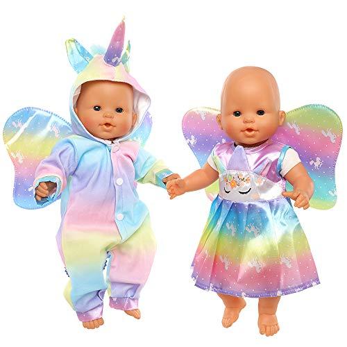 Miunana Kleidung Puppenkleidung Outfits für 35-40 cm Baby Puppen, Einhorn Outfit für New Born Baby Doll, 2er-Pack
