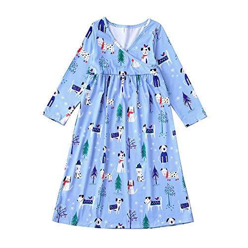 Hffan T-SW Hffan Damen Herren Baby Welpe Drucken Weihnachtspyjamas Eltern-Kind-Anzug Eltern-Kind-Schlafanzug Kleid Junge Mädchen Langarm Weihnachten Pyjamas(Blau,2T)