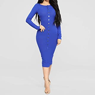 ZCLAU European and American Women New Winter Package Hip Skirt Long-Sleeved Dress Sexy Slim 22905 (Color : Blue, Size : S)
