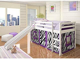 DONCO KIDS 750TW-750C-TC Loft Bed with Slide and Camo Tent, Twin, White