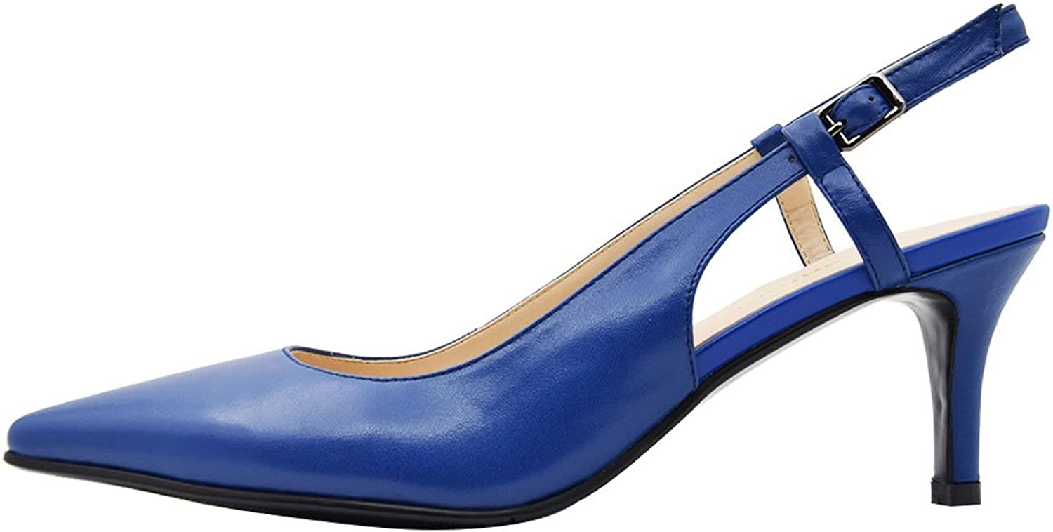 Queenfoot Women's Mid Heel Pointed Toe Slingback Buckle Strap Genuine Leather Pumps shoes